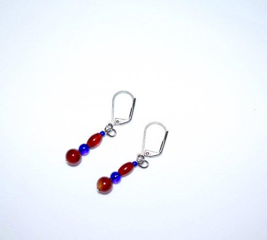 Handmade earrings, red agate and blue glass