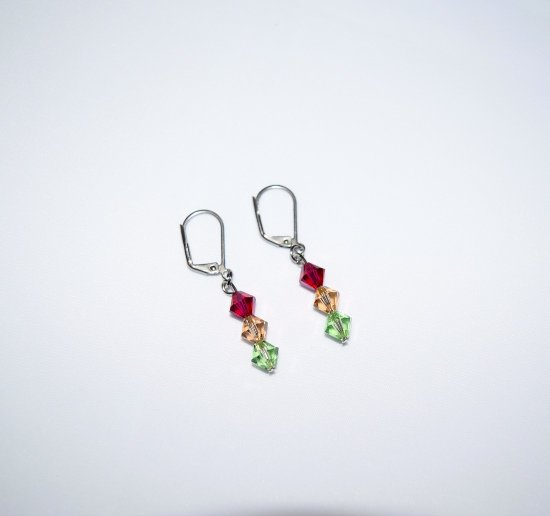 Handmade crystal earrings, Swarovski crystals in magenta, topaz and green