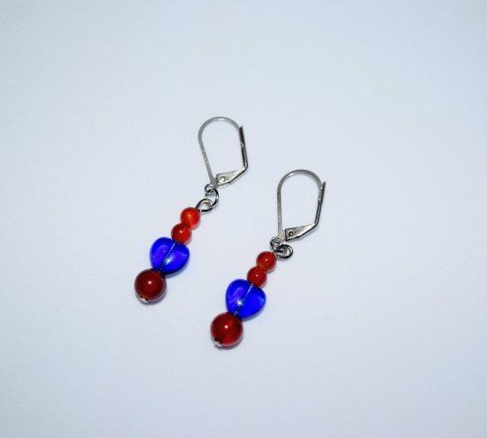 Handmade earrings, red agate and cobalt blue heart
