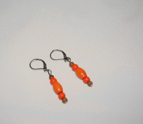 Handmade vintage wood earrings, orange, amber and brown wood beads