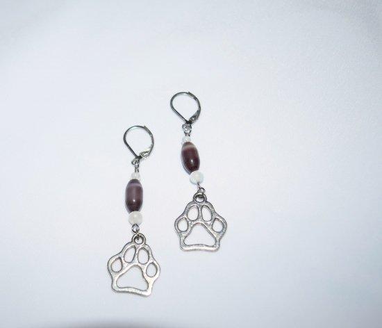 Handmade pawprint earrings, grey cats eye and white beads , pawprint charm