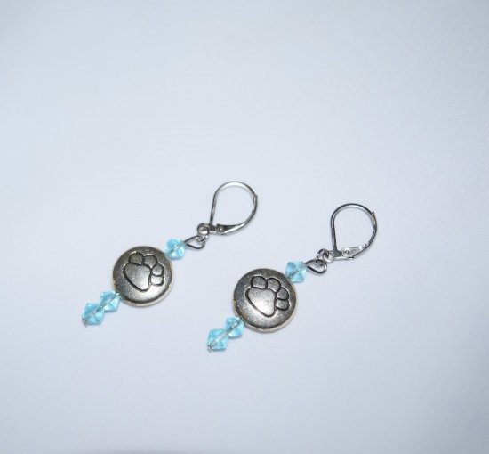 Handmade pawprint earrings, silver pawprint disc, pale aqua crystals