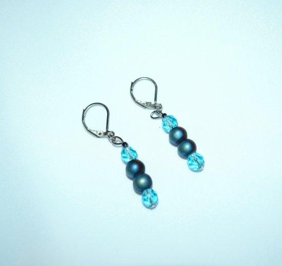 Handmade earrings, aqua crystals and black iris glass beads