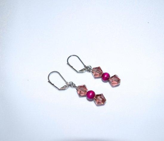 Handmade purple earrings, Swarovski crystals and vintage wood bead