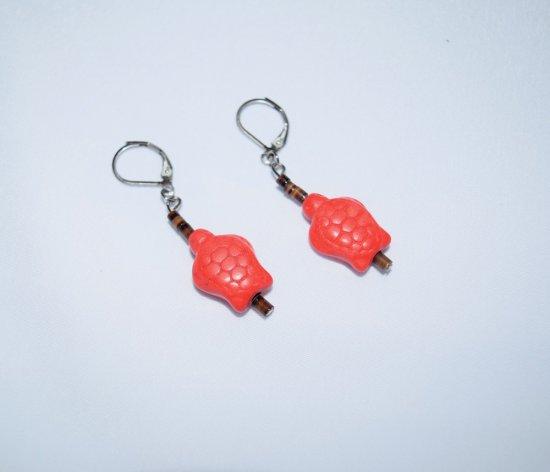 Handmade turtle earrings, coral howlite turle & brown shell heishi beads