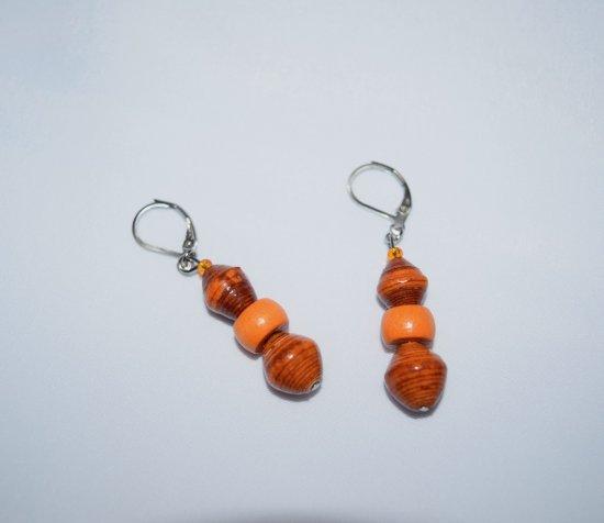 Handmade orange earrings, rolled paper, vintage wood and faceted crystal beads