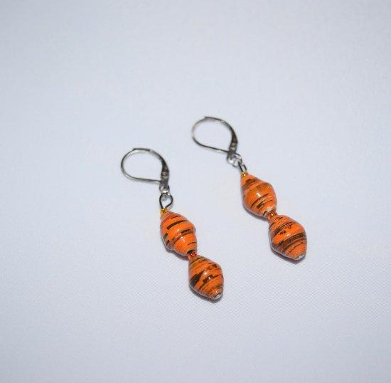 Handmade orange earrings, rolled paper and seed beads