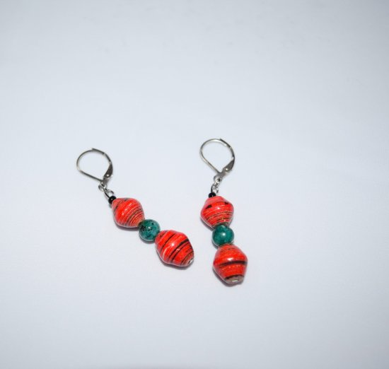 Handmade red earrings, red rolled paper, Hai jade and black seed beads
