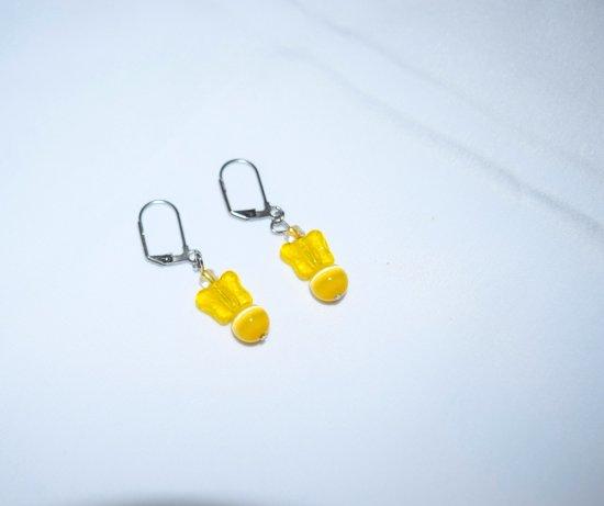 Handmade yellow earrings, glass butterfly, cat