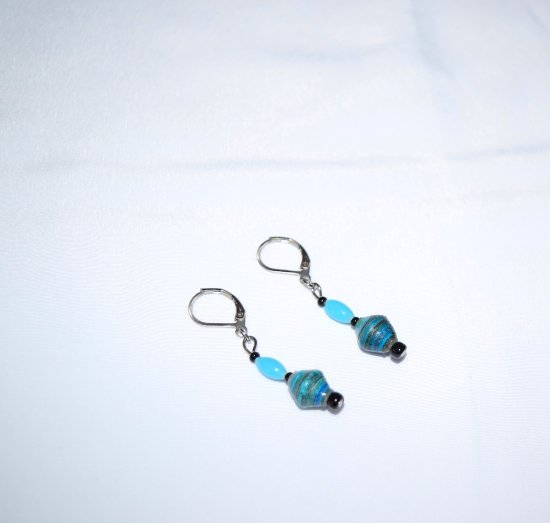 Handmade earrings, blue & aqua rolled paper beads, aqua glass ovals, black seed beads