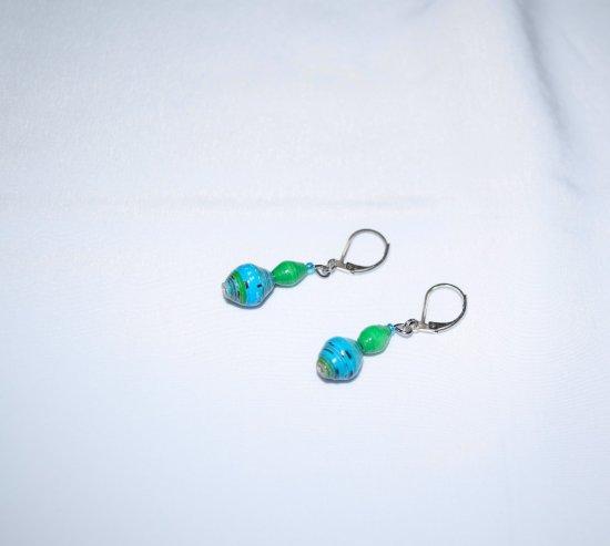 Handmade earrings, aqua and green rolled paper beads, aqua seed bead