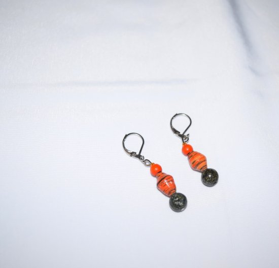 Handmade orange earrings, rolled paper and wood beads, green serpentine bead