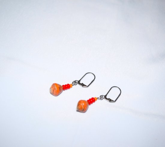 Handmade orange earrings, rolled paper bead, red glass rondelles and orange seed bead