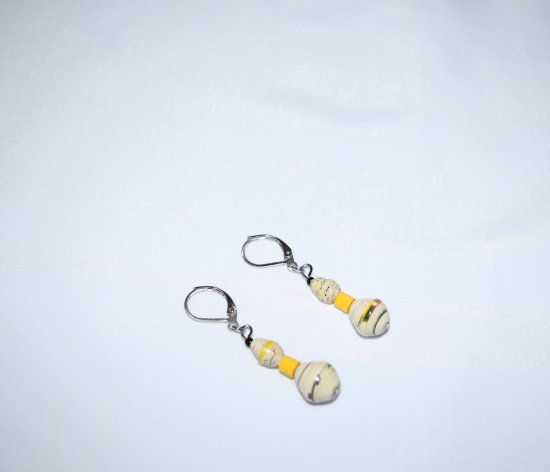 Handmade white earrings, white rolled paper beads and vintage yellow wood bead
