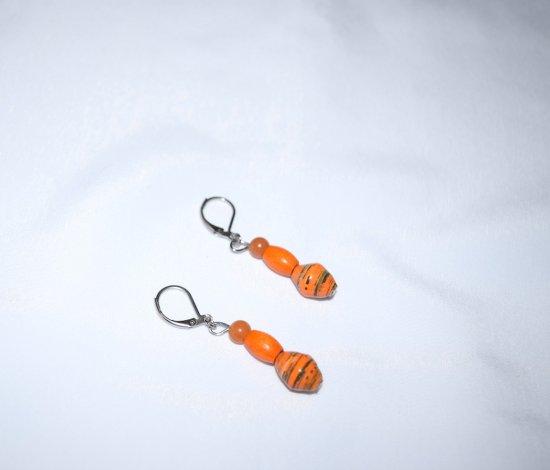 Handmade orange earrings, rolled paper, vintage wood and aventurine beads
