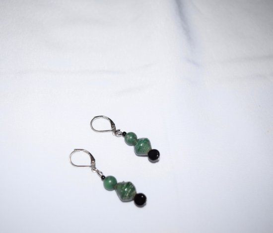 Handmade green earrings, rolled paper, black glass and Hai jade beads