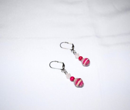 Handmade magenta & white earrings, rolled paper, vintage wood and pressed glass beads