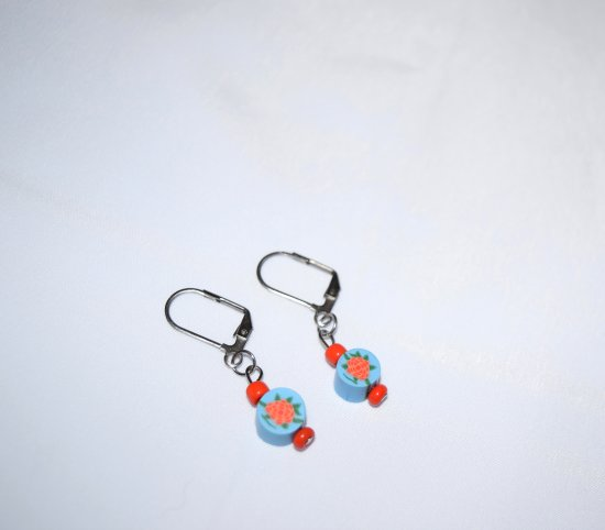 Handmade flower earrings, blue polymer clay disc and coral seed beads