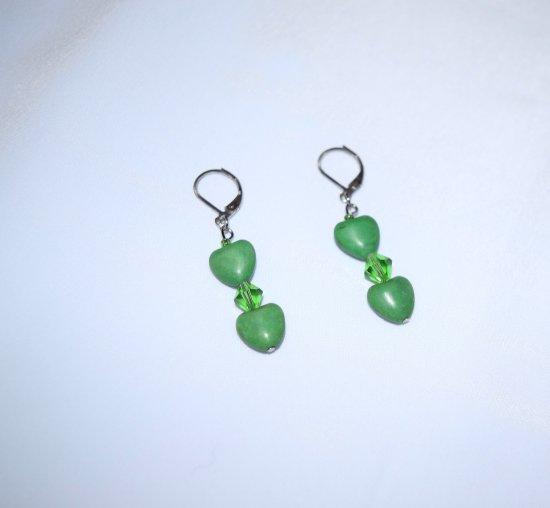 Handmade green earrings, resin hearts and Swarovski crystal