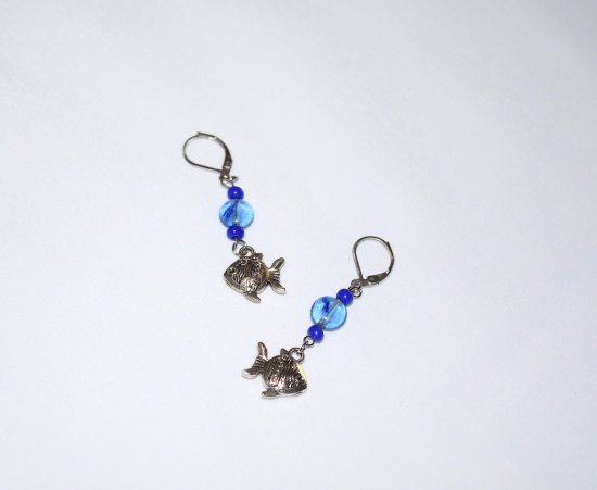 Handmade fish earrings, fish charm , blue glass coin and seed beads