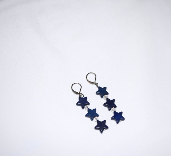 Handmade blue star earrings with howlite stars and crackle glass beads