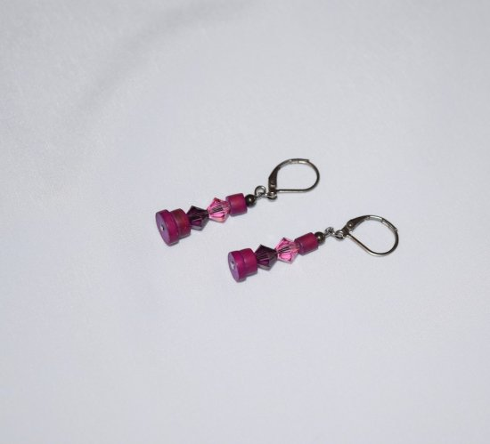 Handmade purple earrings, purple and pink Swarovski crystals, vintage purple wood beads