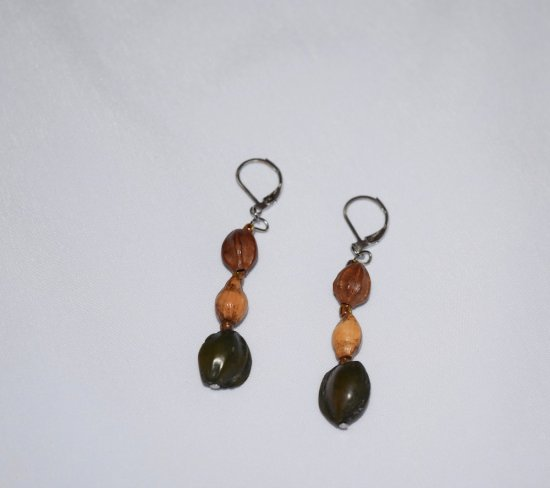 Handmade earrings, 3 seeds in green, brown and tan and seed beads