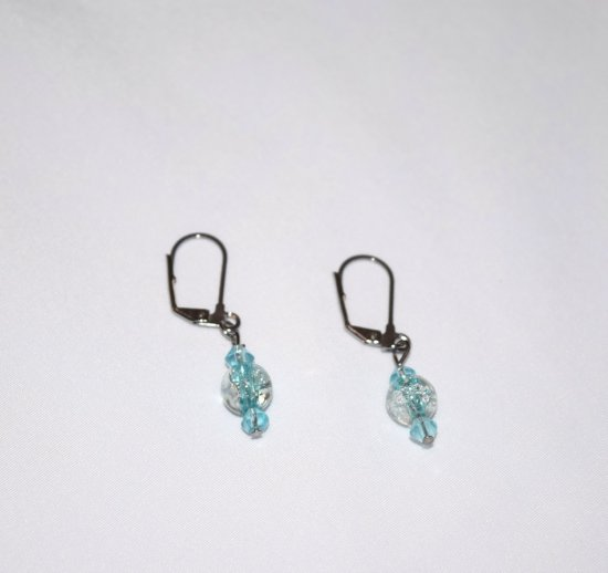 Handmade aqua earrings, aqua crystals and crackle glass