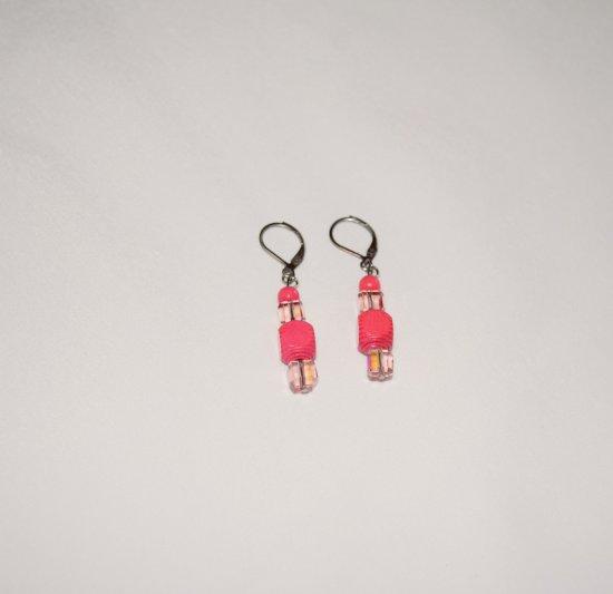 Handmade pink earrings, vintage wood and crystal cubes