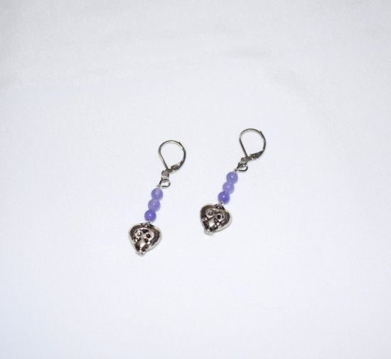 handmade heart earrings, antiqued silver heart and purple Hai jade beads