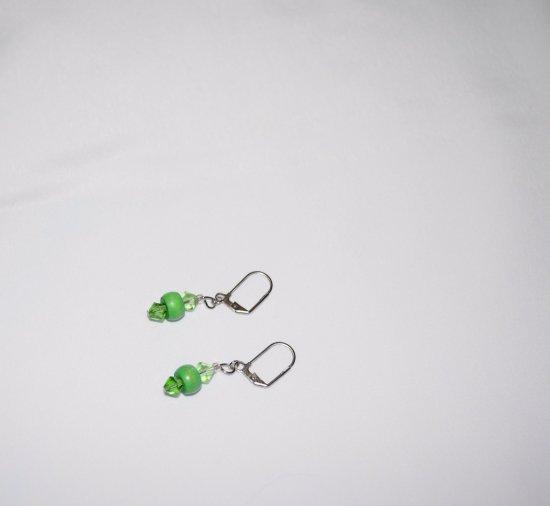 Handmade green earrings, Swarovski faceted crystals, vintage wood rondelle