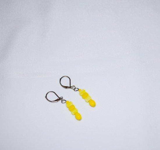 Handmade yellow earrings, vintage glass rectangular and oval beads