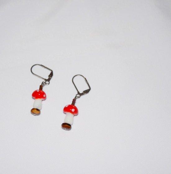 Handmade mushroom earrings, glass mushroon beads and brown rondelles and seed beads