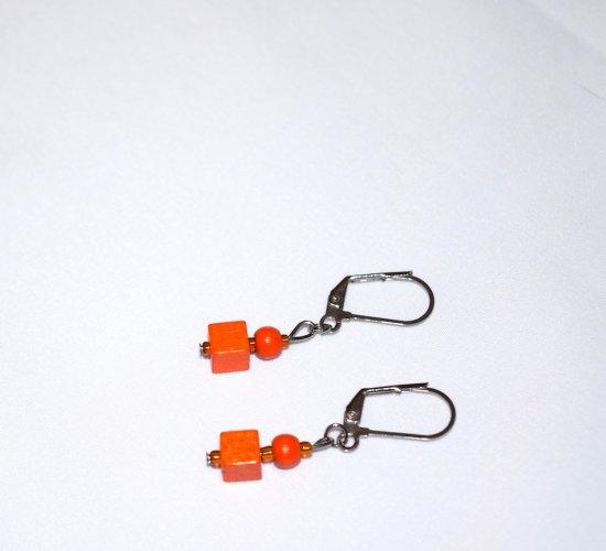 Handmade orange earrings, vintage painted wood cube and round beads, seed beads