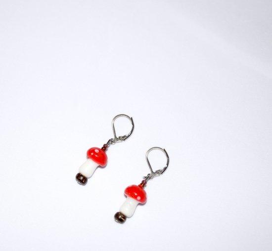 Handmade mushroom earrings, glass mushoom and seed beads, wood bead