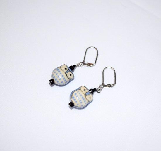 Handmade blue earrings, porcelain owl, black seed beads