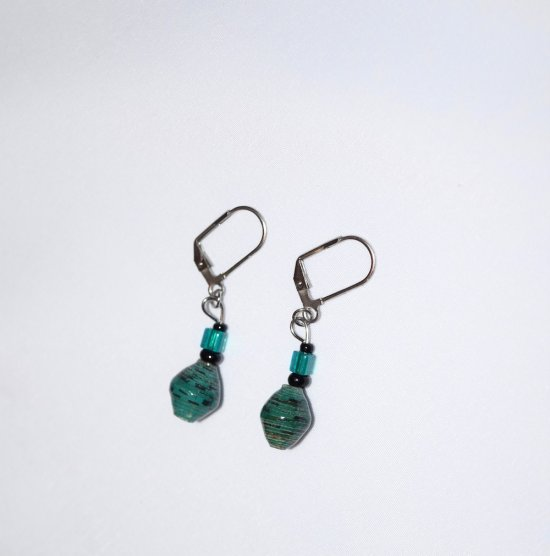 Handmade teal earrings, rolled paper bead, teal cane glass cube, black seed beads