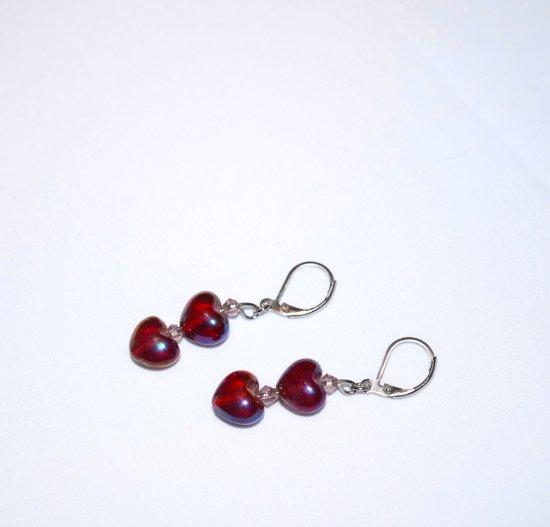 Handmade heart earrings, red pearlized heart beads, lavendar crystal bicones
