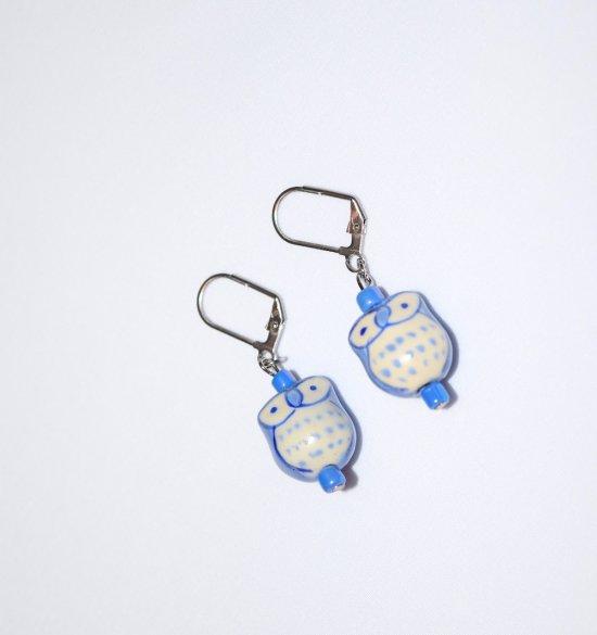 Handmade owl earrings, pale blue porcelain owl, blue seed beads