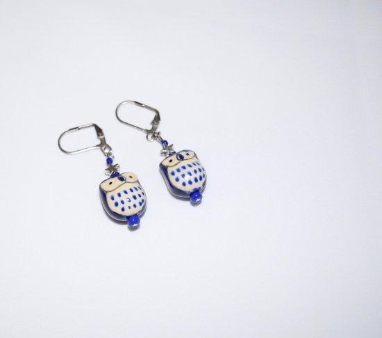 Handmade owl earrings, royal blue porcelain owl, silver star and blue seed beads