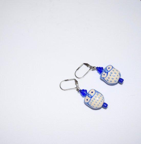 Handmade owl earrings, pale blue owl porcelain bead, blue glass star and seed beads