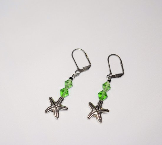 Handmade starfish earrings, green Swarovski crystals, starfish charm, black seed bead