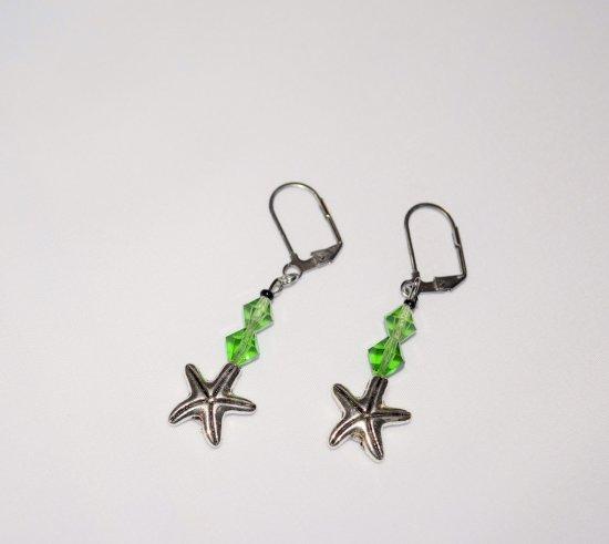 Handmade starfish earrings, green Swarovski crystals, starfish charm, black seed bead