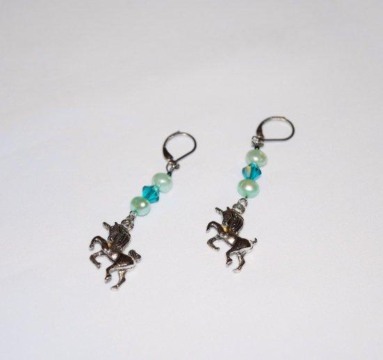 Handmade unicorn earrings, aqua cultured pearls, aqua Czech crystal, unicorn charm