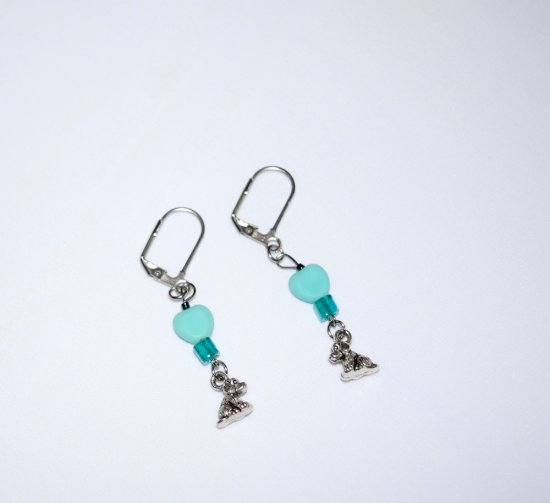 Handmade dog earrings, cyan heart and teal cube beads, dog charm