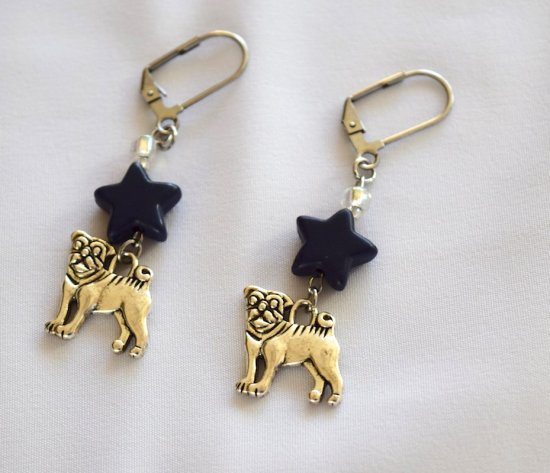 Handmade dog earrings, navy blue howlite star, sparkling white seed beads, dog charm