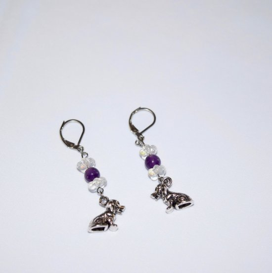 Handmade dog earrings, Czech crystal flower rondelles, purple amethyst bead, dog charm