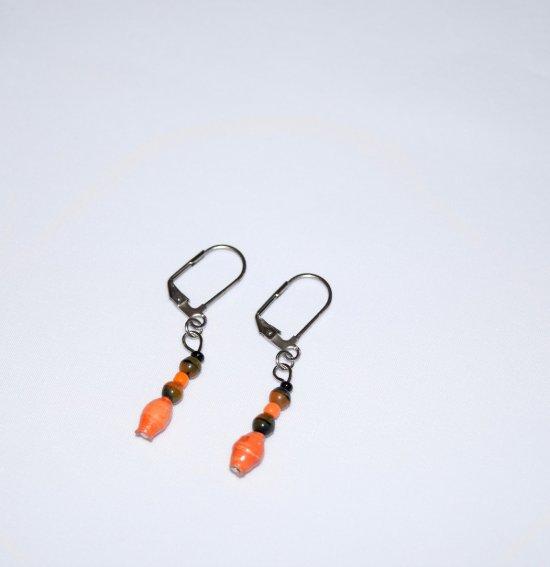 Handmade orange earrings, orange paper bead, orange & black glass beads, seed beads