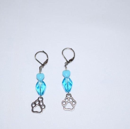 Handmade sky blue earrings, pawprint charm, sky blue glass translucent oval and opaque heart