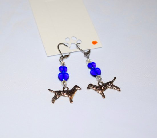 Handmade dog earrings, dog charm, blue hearts and white rainbow beads